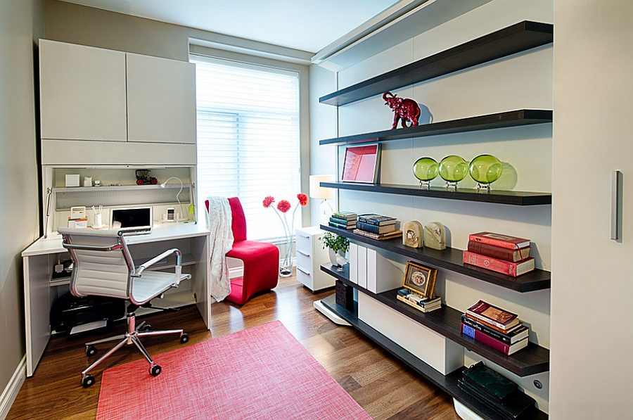 The combination office and guest room measures only including a closet.  Since the office portion is confined to one side, there is also room for a  twin bed.