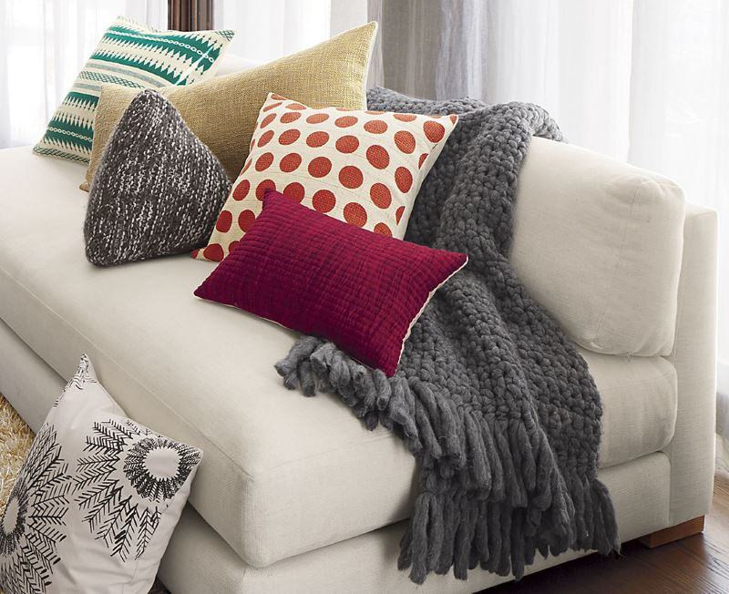 Comfy grey throw and pillows from CB2