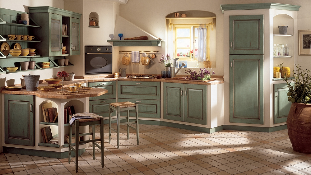 Complex combination of textures creates a smart modern kitchen 15 Sophisticated Kitchens with the Charm of a Bygone Era