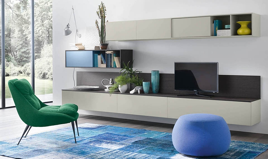 Compose a living room wall unit with minimal style