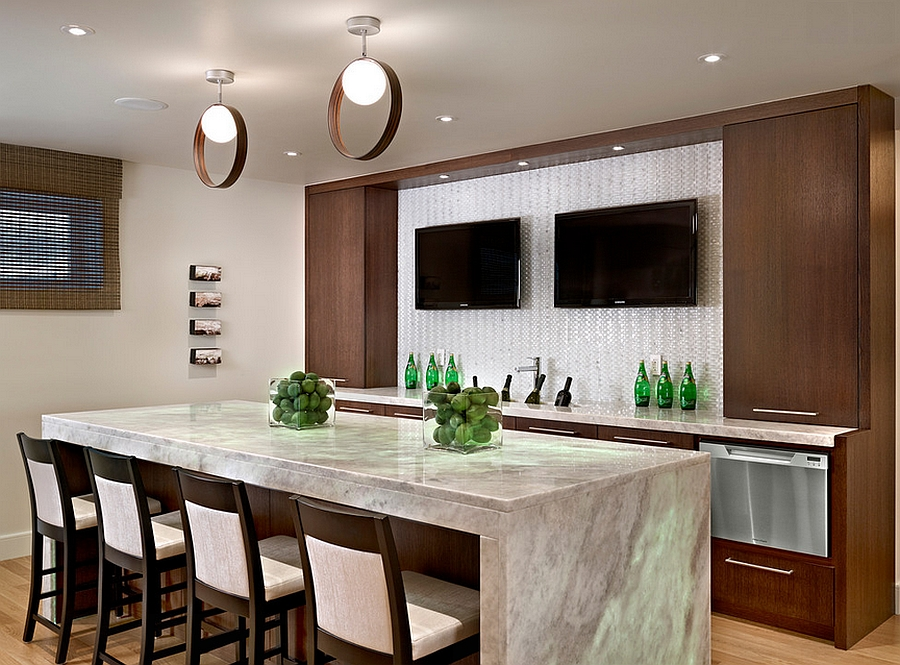 Contemporary basement bar with cool lighting [Design: Wood Inc]