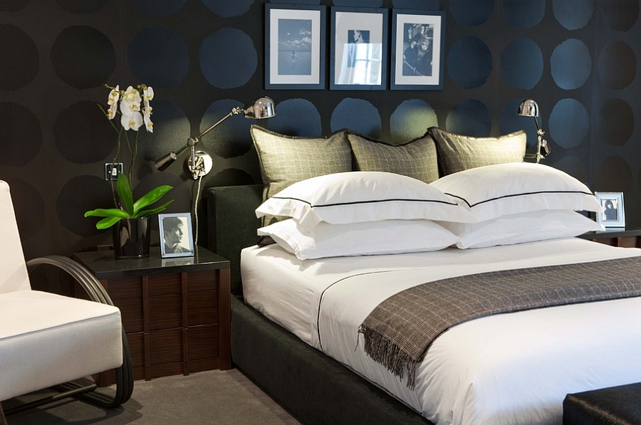Contemporary bedroom uses black in a playful manner [Design: MPD London]