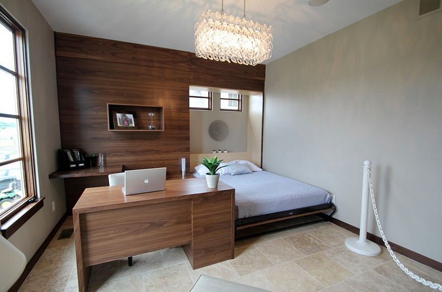 Contemporary bedroom with smart workspace Design Jerry Bussanmas 25 Creative Bedroom Workspaces Style and Practicality