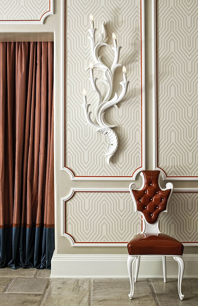 Contemporary entry with David Hicks inspired wallpaper [From: Woodson & Rummerfield's House of Design]