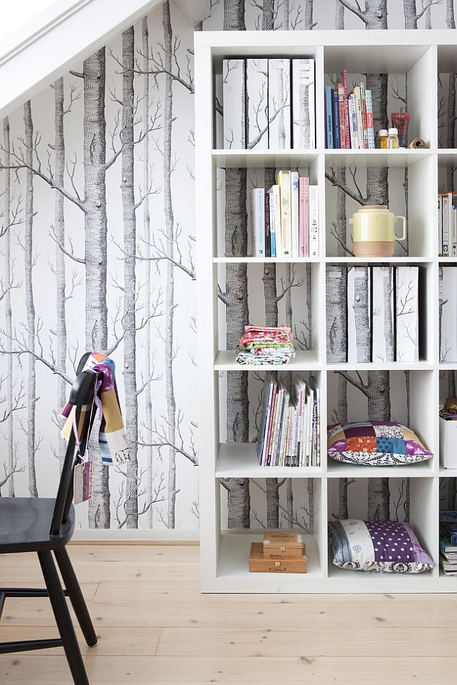 Contemporary home office with the Woods Wallpaper