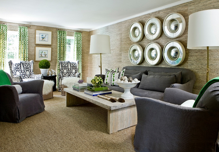 Contemporary living room with a hint of green [Design: Erica George Dines Photography]