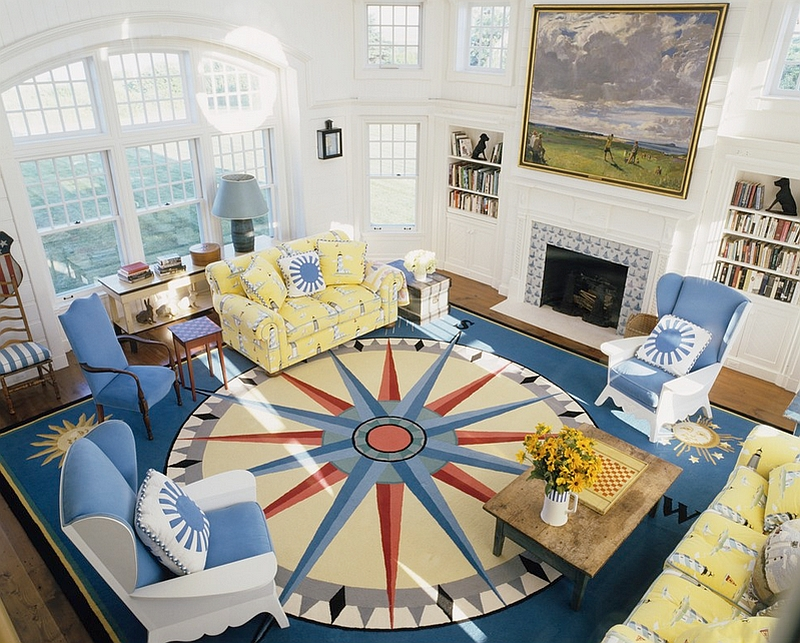 ... Contemporary Living Room With A Nautical Vibe [Design: Anthony Baratta]