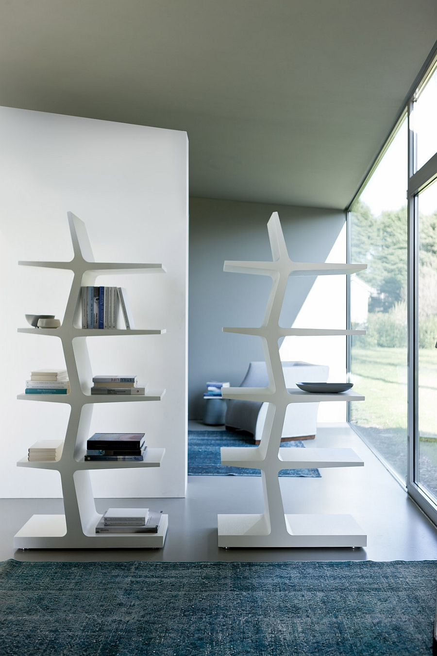 Contemporary white version of the Zeus bookshelf