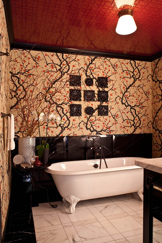 Creative ceiling brings dashing red into the bathroom