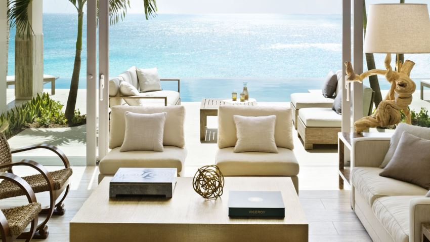 Crisp upholstery in a Caribbean resort living area