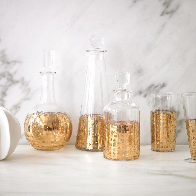 Crosshatch drinkware from DwellStudio