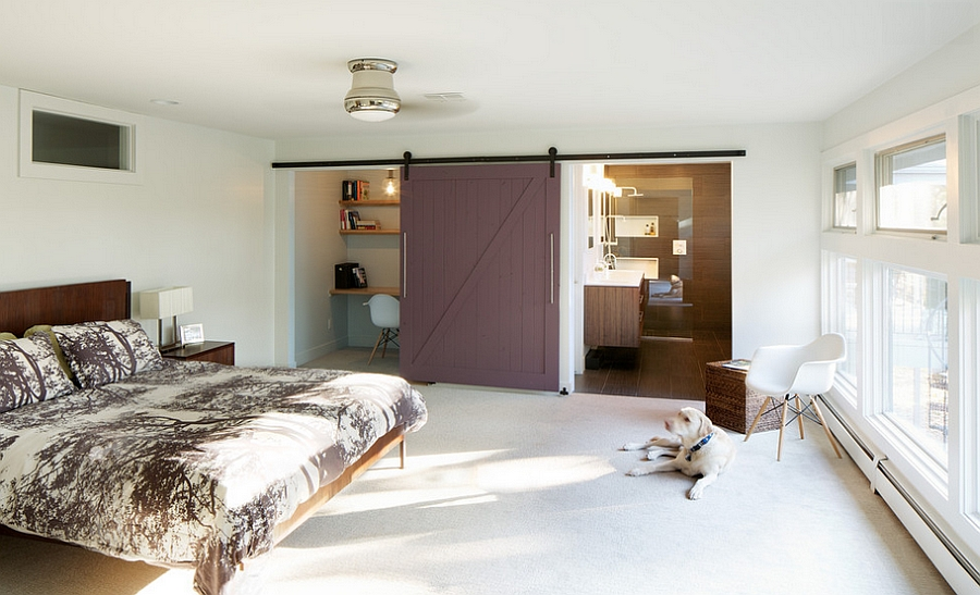 Custom barn door closes off both the home office and the bathroom [From: Design Platform]