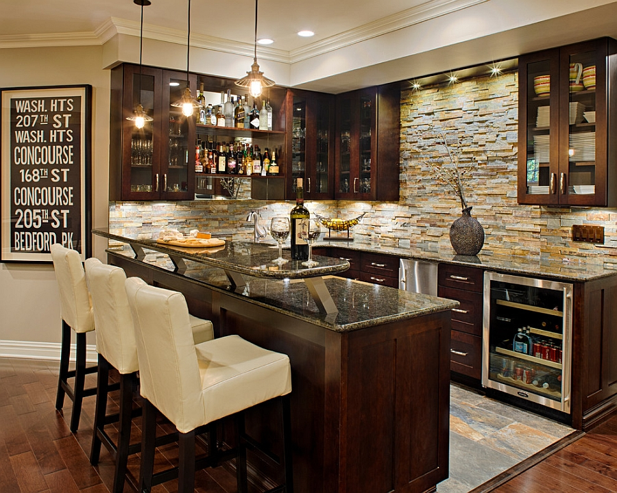 Custom basement bar complements a cool wine cellar [Design: Creative Design Construction]