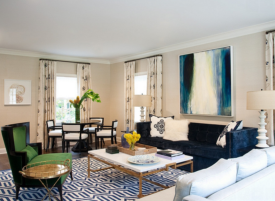 Custom coffee table and unique art work enliven the living room