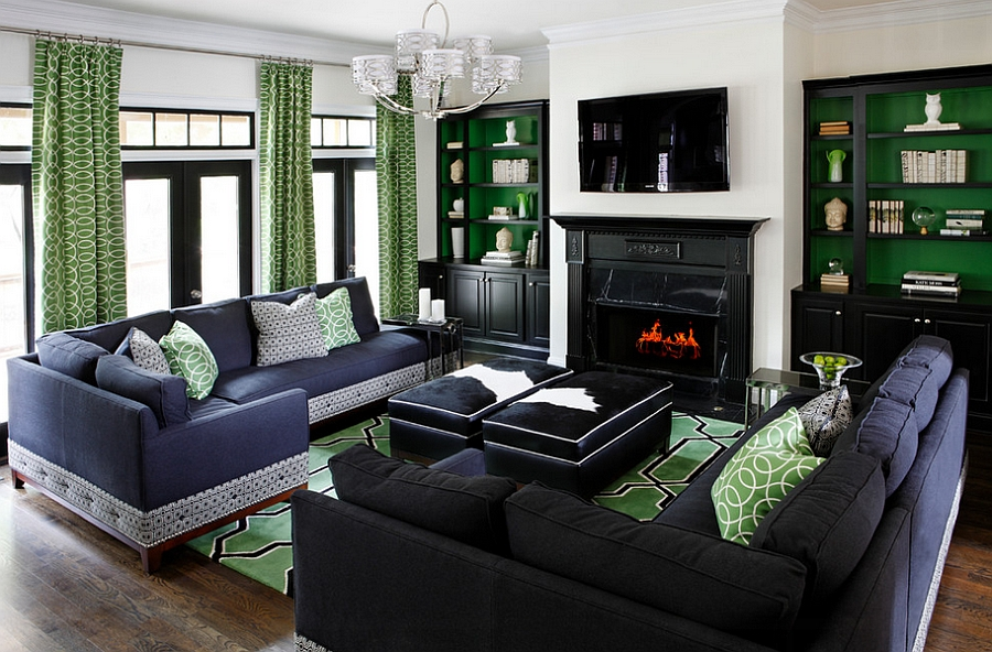Custom green color used to enliven the contemporary living room [Design: Kristin Drohan Collection]