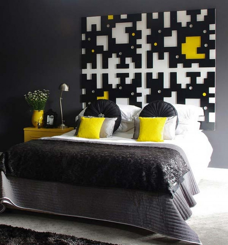 Custom jigsaw headboard in the black bedroom [Design: Windsor Decorating and Design]