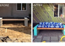 DIY Cinderblock Seating Before and After