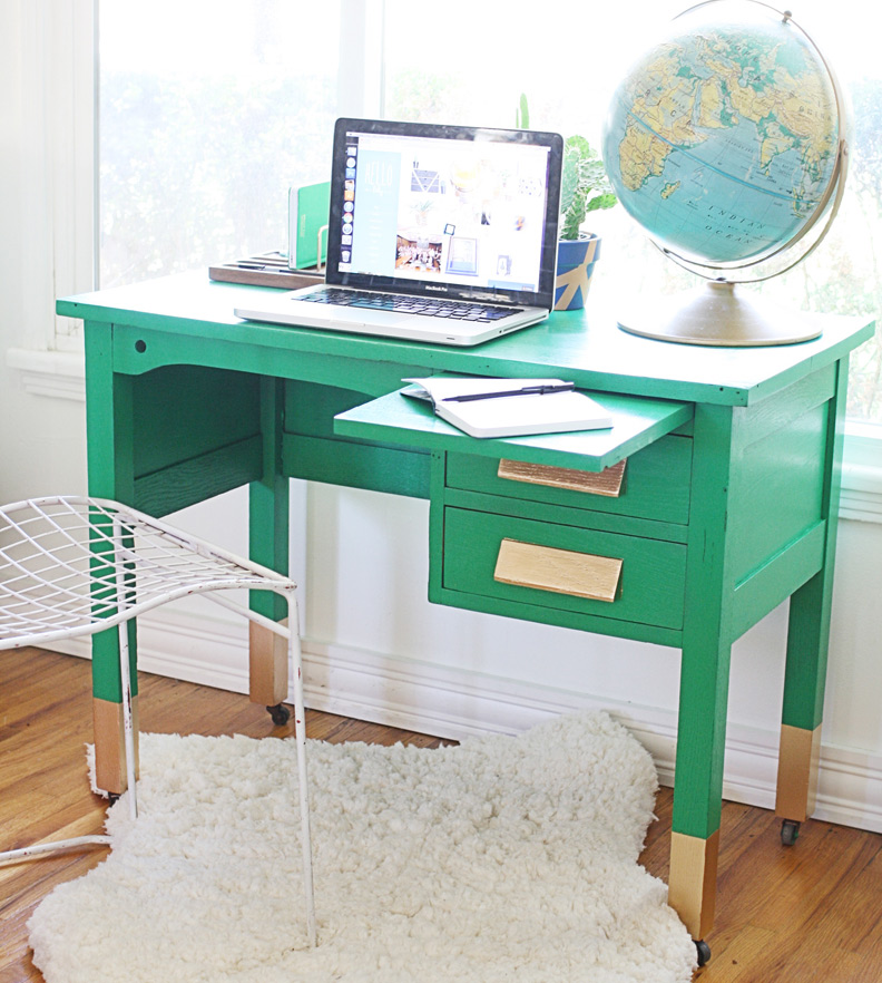 DIY Desk with Gold Accents
