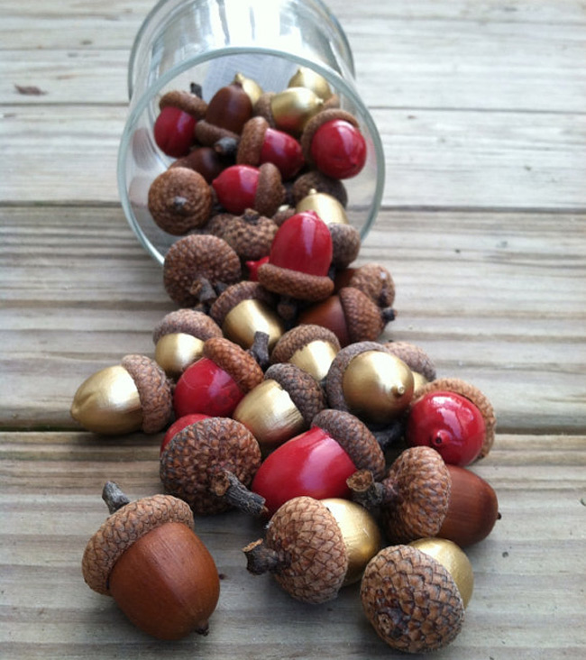 DIY Gold and Red Acorns