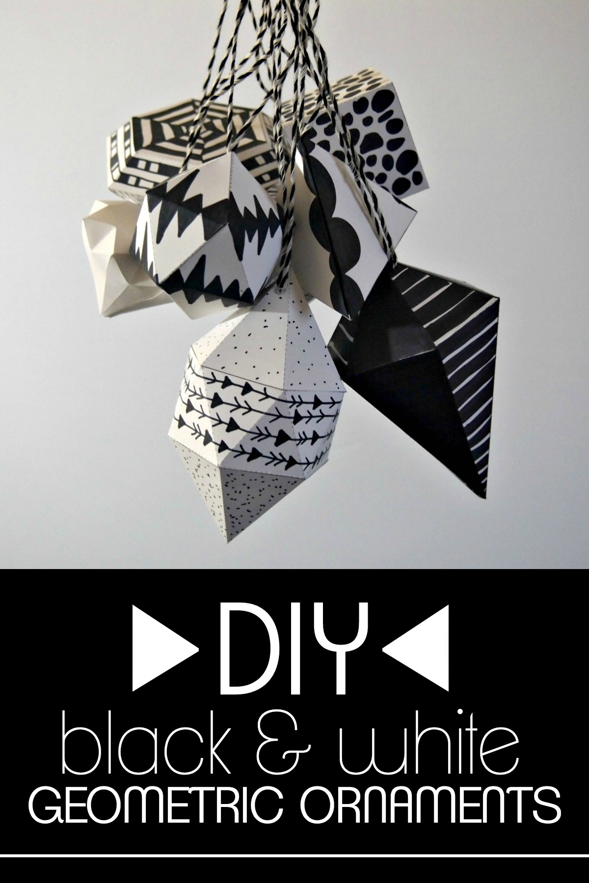 DIY black and white geometric ornaments