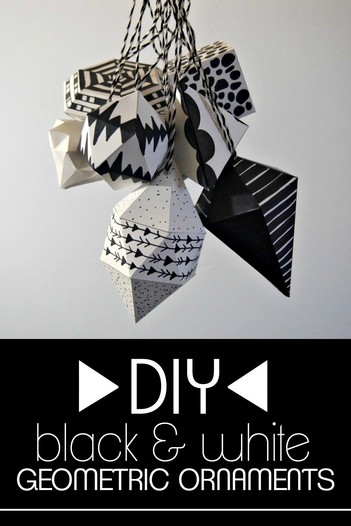 DIY black and white geometric ornaments
