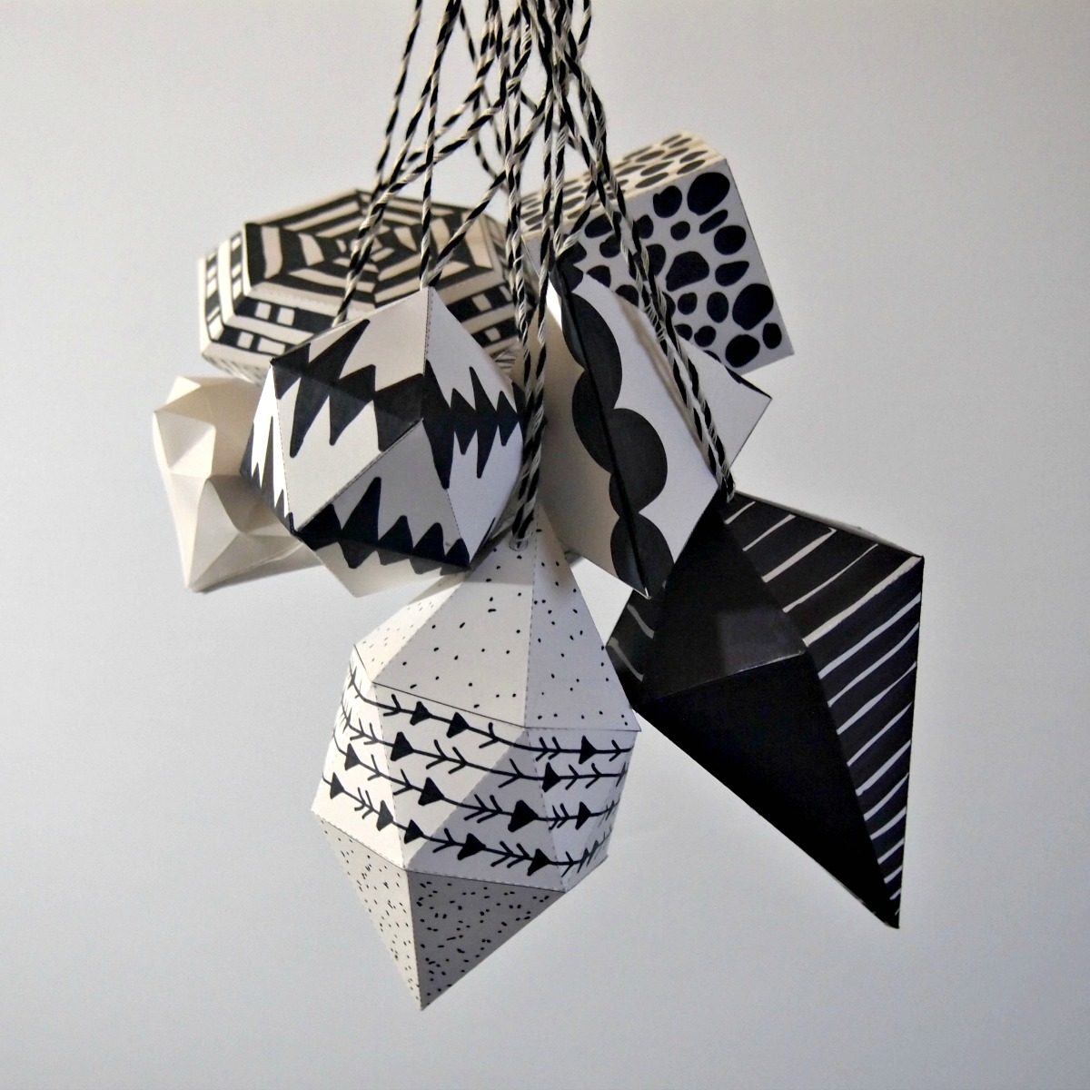 DIY black and white paper ornaments