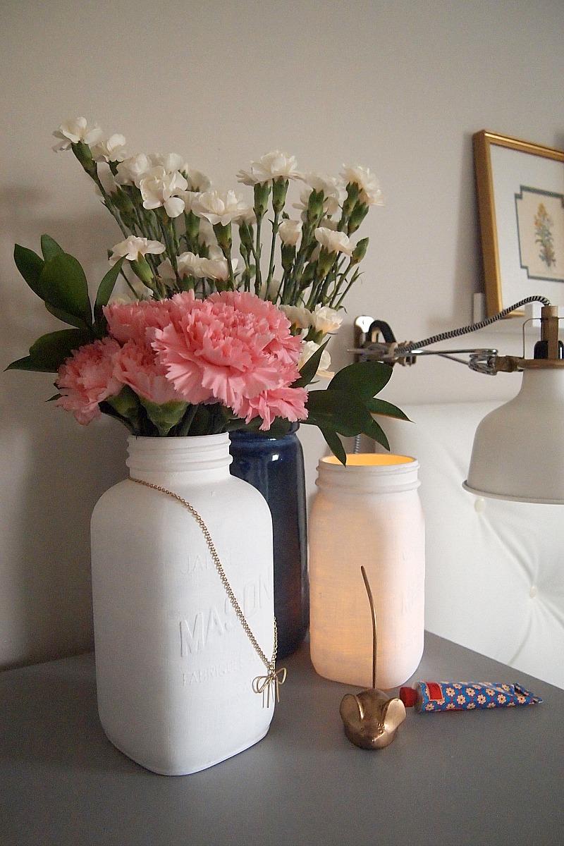 DIY mason jar vase and candleholder