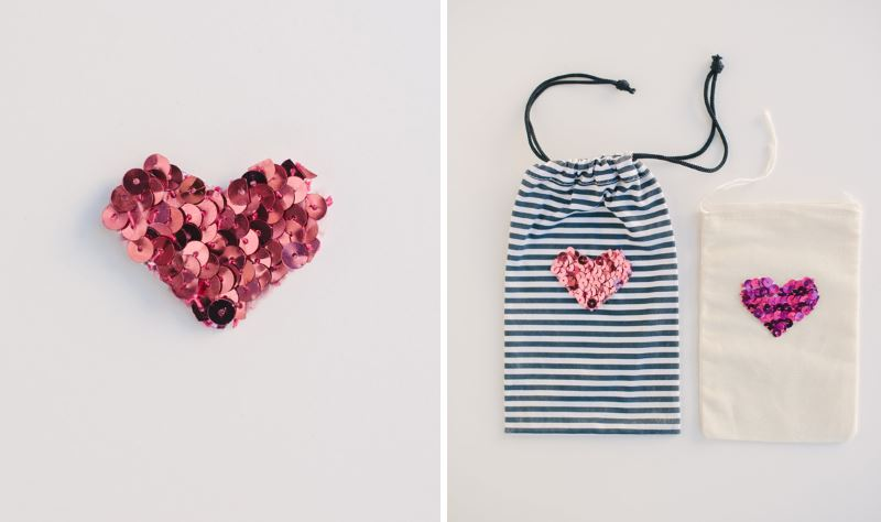 DIY sequin hearts from A Subtle Revelry