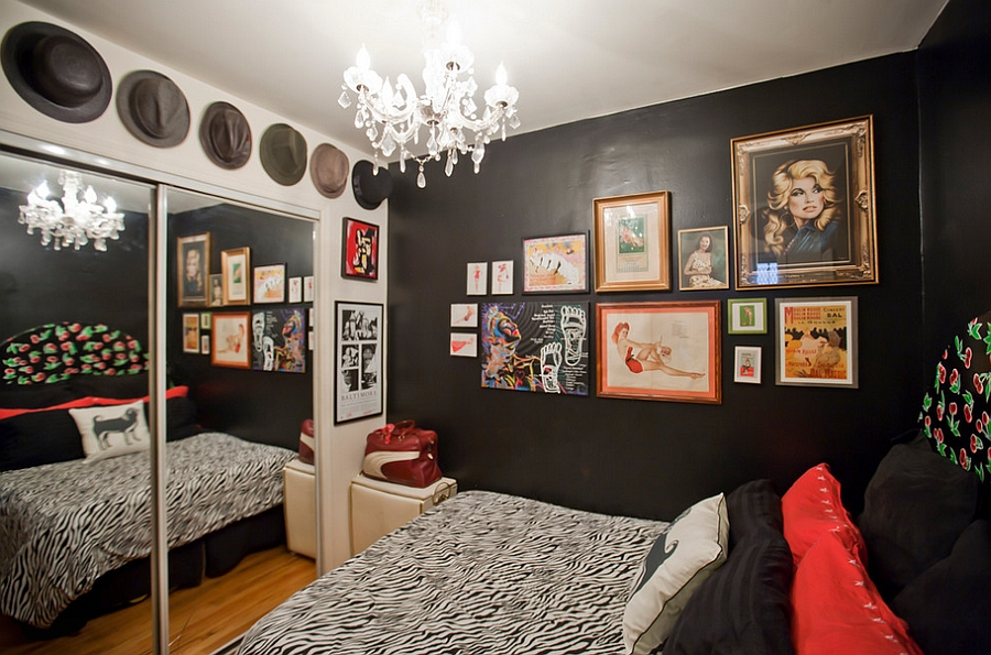 Daring use of black in the tiny studio apartment bedroom [Design: Apartment Jeanie]