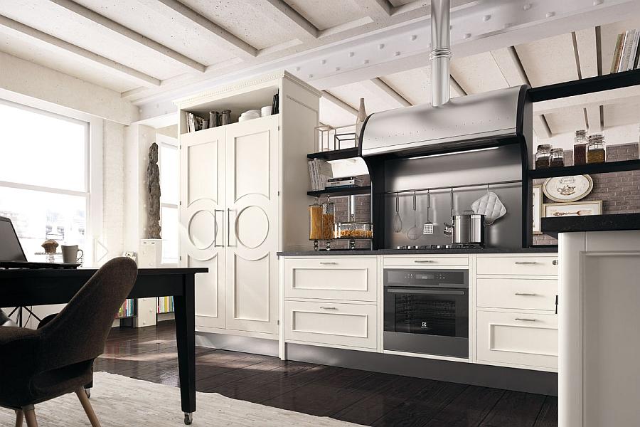 Dark backsplash gives the kitchen a sophisticated vibe