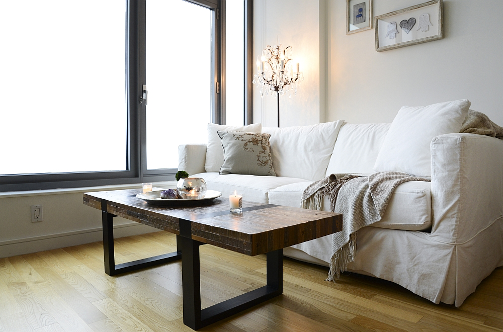 Dark wood coffee table in the small living space