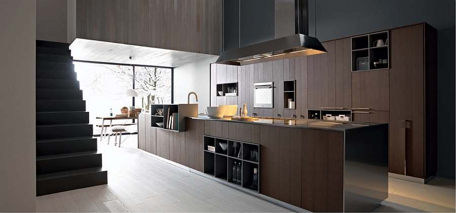 Dark wood tones give the kitchen an inviting appeal