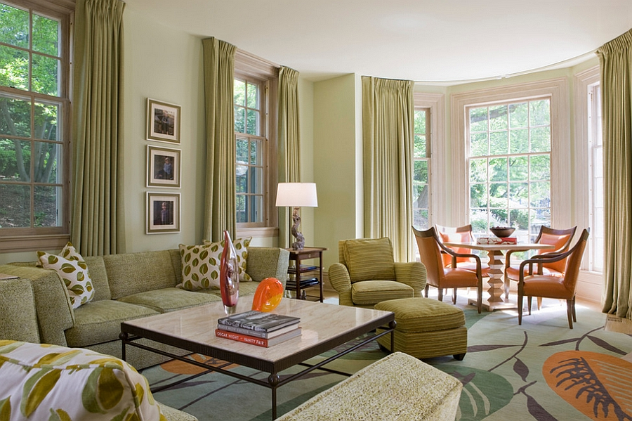 Drapes accentuate the color scheme of the living space [Design: Jones & Boer Architects]