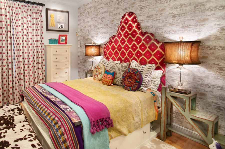 Eclectic bedroom with creative nightstands [Design: A.Clore Interiors]