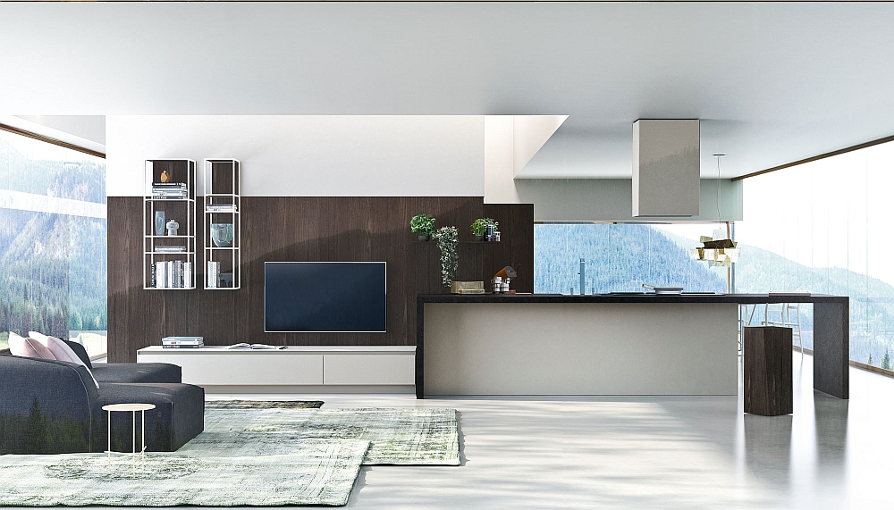 Elegant WAY Kitchen blends with the aesthetics of the living room