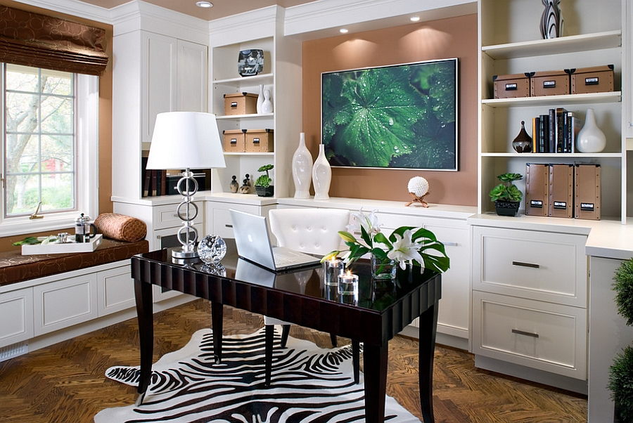 Elegant and refreshing contemporary home office [Design: Kathy Daukant Interior Design]