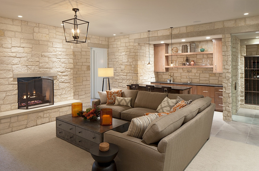 Elegant basement hangout with bar and wine cellar [Design: Scott Christopher Homes]