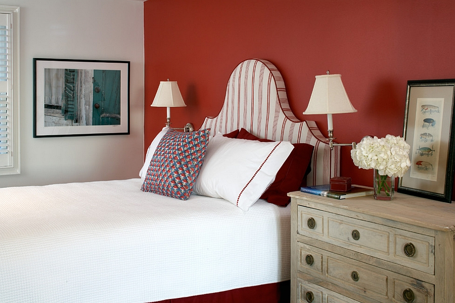 ... Elegant Use Of Red In The Bedroom [Design: Terrat Elms Interior Design]