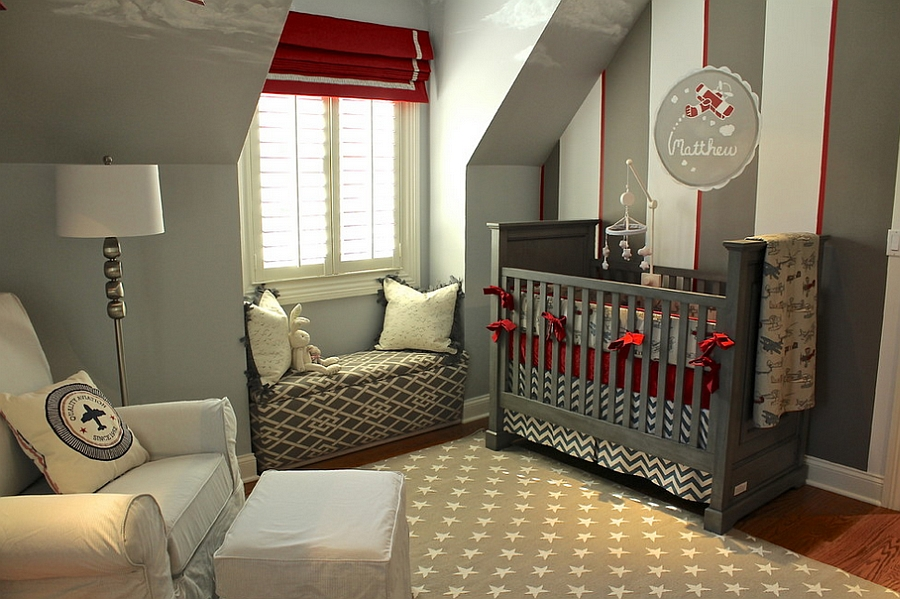 Restrained use of red in the nursery [Design: Steffanie Danby Interiors]