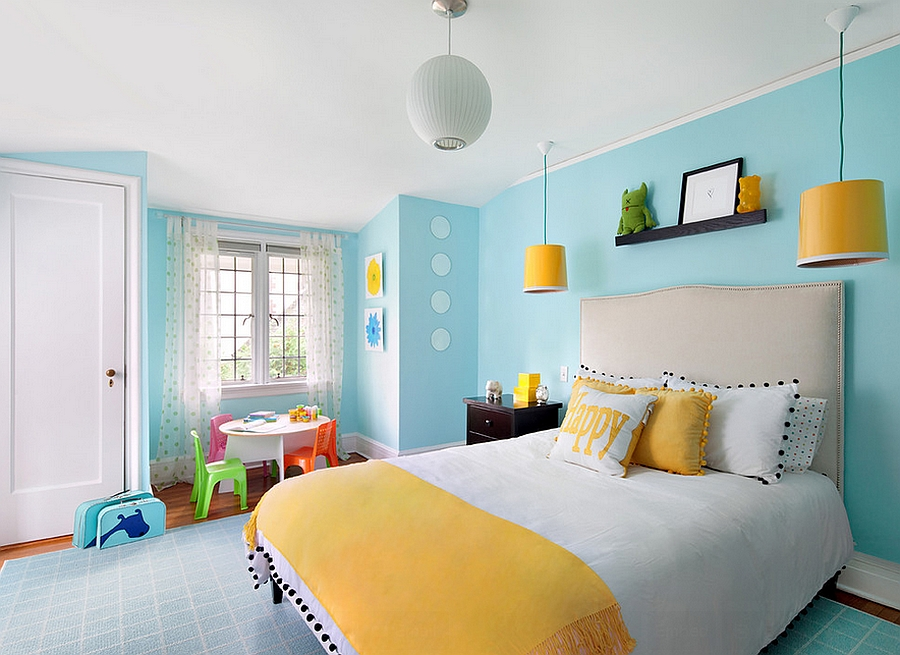 Kids Bedroom Yellow yellow and blue interiors: living rooms, bedrooms, kitchens