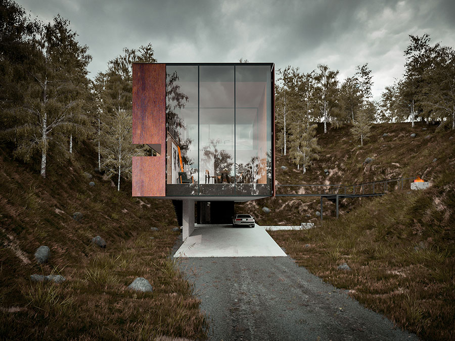 Elevation of the ingenious house draped in glass and Cor ten sheets Dramatic Minimalist Home Transforms an Abandoned Quarry in the UK
