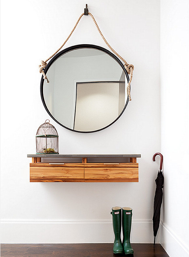 10 small entryway designs with larger than life appeal for Hallway mirror and shelf