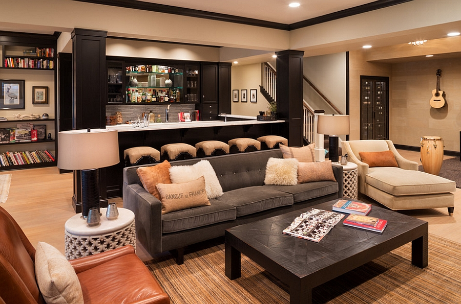 Designing A Basement Bar officefurniture workspace office design ideas deluxe design mini bar basement idea View In Gallery Exquisite Basement Bar And Living Idea Design Kyle Hunt Partners