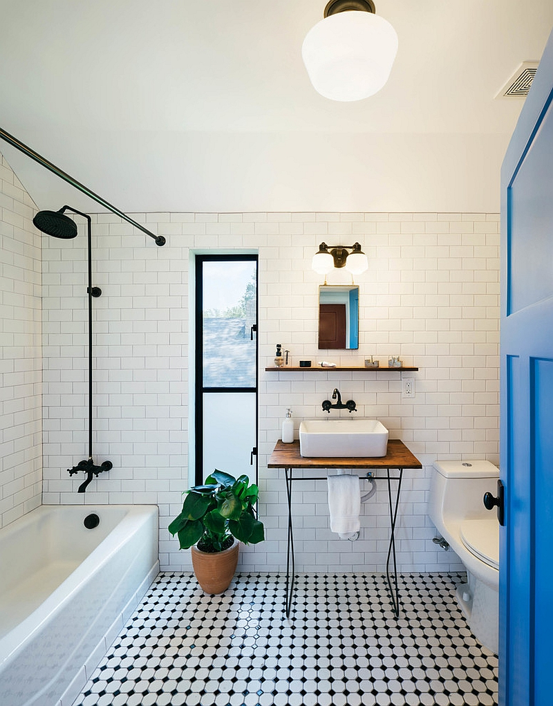 10 fabulous bathrooms with industrial style for Carrelage metro blanc
