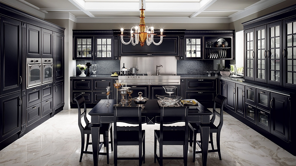 Exquisite combination of black and silver in the traditional kitchen
