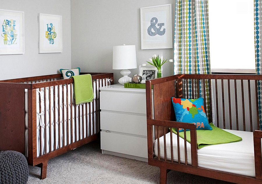 Exquisite use of corner space in the nursery [Design: EM Design Interiors]