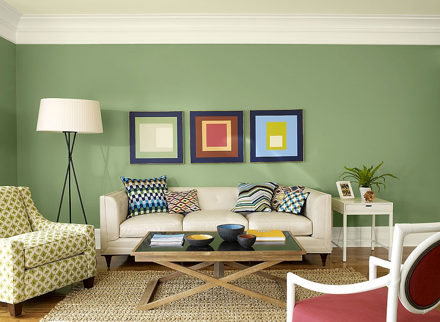 Exquisite use of sage green in the living space [From: Benjamin Moore]