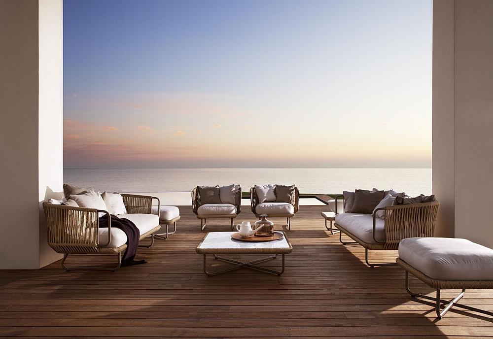 Fabulous Babylon outdoor chairs, couch, pouf and occasional table
