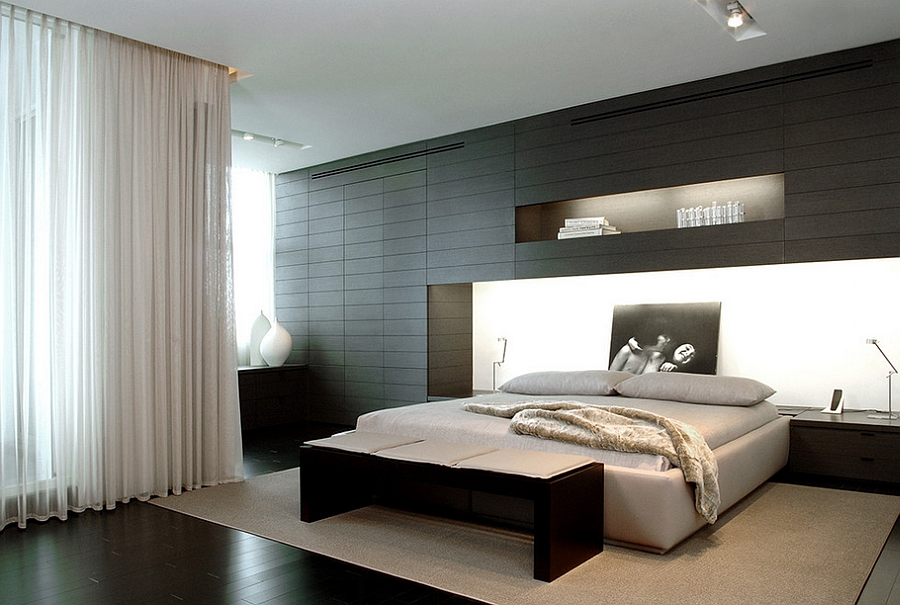 bedroom in black with a minimal vibe design troy dean interiors