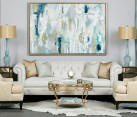 Fabulous blend of teal and gold in the living room [Design: High Fashion Home]